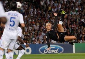 Griezmann anota el primer gol de la noche en Gerland.